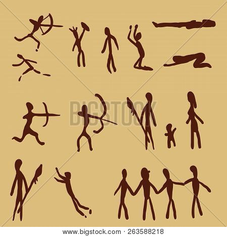 Vector Set Of Cave Painting People. Primitive Art Illustrations.