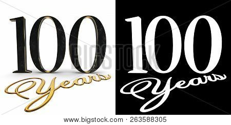 Golden Number One Hundred (number 100) And The Inscription Years With Drop Shadow And Alpha Channel.