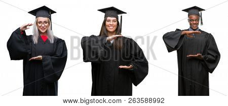 Collage of group of young student people wearing univerty graduated uniform over isolated background gesturing with hands showing big and large size sign, measure symbol. Smiling looking at the camera