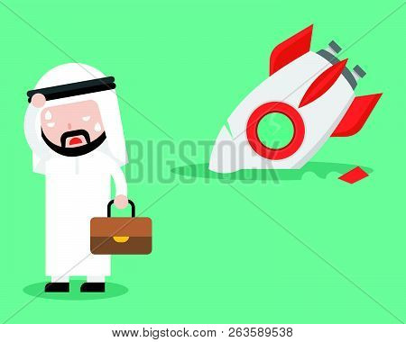 Arab Businessman With Broken Rocket Vector, Flat Design, Unsuccessful Concept