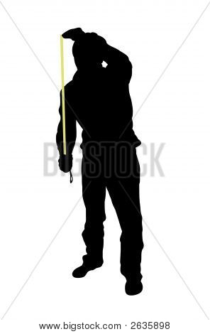 Silhouette of man using tape measure over a white background poster