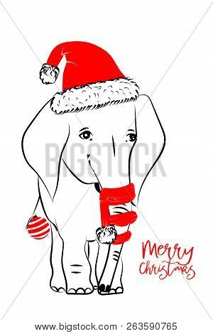 Hand Drawn Vector Illustration With A Cute Baby Elephant Celebrating Celebrating A Merry Christmas -