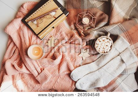 Cozy Winter Or Christmas Table With Hot Cocoa, Warm Knitted Fashion Clothes, Glasses, Sketch Book, C