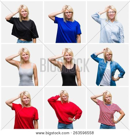 Collage of beautiful blonde woman wearing differents casual looks over isolated background confuse and wonder about question. Uncertain with doubt, thinking with hand on head. Pensive concept.