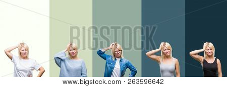 Collage of beautiful blonde woman over green vintage isolated background confuse and wonder about question. Uncertain with doubt, thinking with hand on head. Pensive concept.