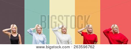 Collage of beautiful blonde woman over vintage isolated background confuse and wonder about question. Uncertain with doubt, thinking with hand on head. Pensive concept.