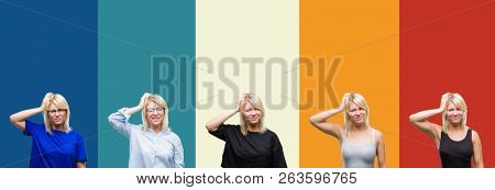 Collage of beautiful blonde woman over colorful vintage isolated background confuse and wonder about question. Uncertain with doubt, thinking with hand on head. Pensive concept.