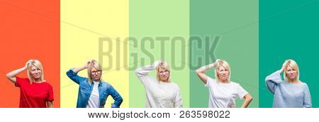 Collage of beautiful blonde woman over vivid vintage isolated background confuse and wonder about question. Uncertain with doubt, thinking with hand on head. Pensive concept.