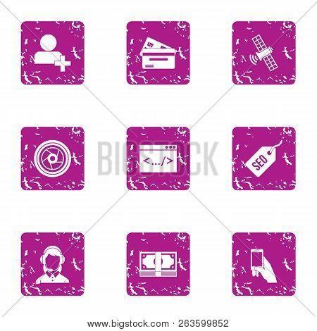 Seo Advice Icons Set. Grunge Set Of 9 Seo Advice Icons For Web Isolated On White Background