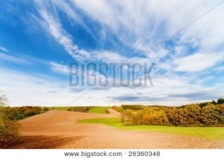 autumn  ploughed arable field