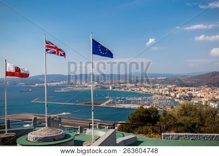 Gibraltar, United Kingdom, 1st October 2018:- View From The Top Of The Rock Of Gibraltar Looking Nor