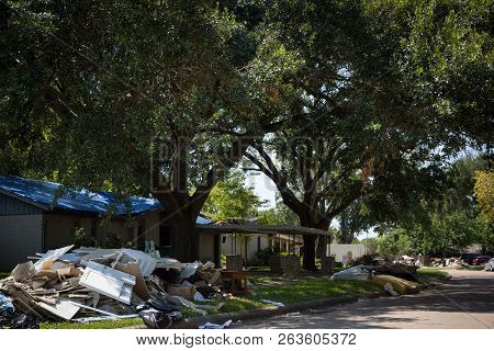 Houston, Texas, Usa, September 10, 2017: Consequences From Hurricane Harvey. Flooded, Damaged Houses