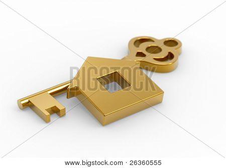 Gouden sleutel en weinig speelgoed huis op wit