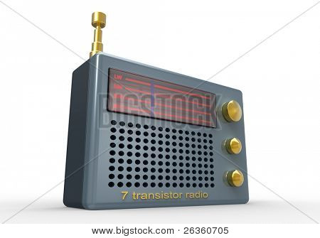Vintage transistor radio 3d on white