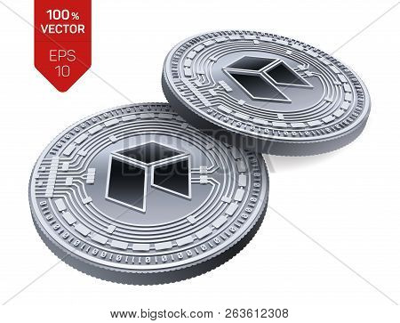 Neo. Crypto Currency. 3d Isometric Physical Coins. Digital Currency. Silver Coins With Neo Symbol Is