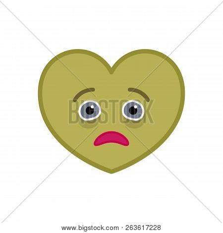 Diseased Heart Shaped Funny Emoticon Icon. Sick Pink Emoji Symbol. Social Communication And Online C