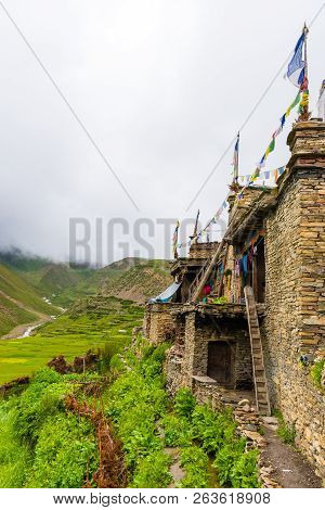Green Terraced Fields And Traditional Architecture In The Ancient Tibetan Nar Village, Annapurna Con