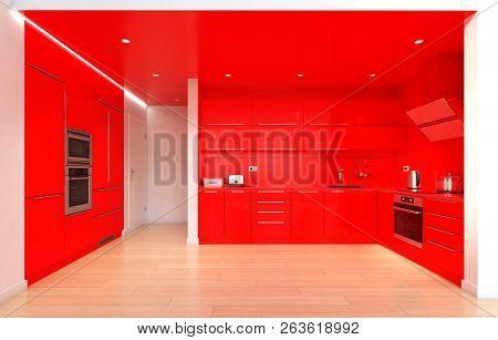 modern red color kitchen interior. 3d rendering design concept