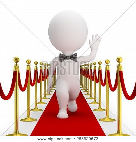 3d Small Person With A Bow Tie Is Walking Along The Red Carpet And Waving His Hand. 3d Image. White