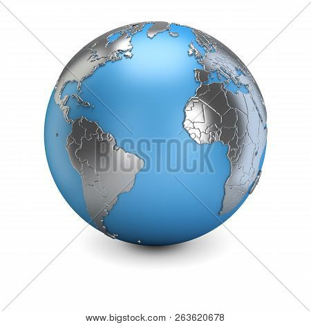 3d Planet Earth With Metallic Continents. 3d Image. White Background.