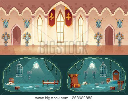 Vector Set Of Cartoon Game Backgrounds, Hall In Medieval Castle Or Ballroom With Gobelins, Knight Gu