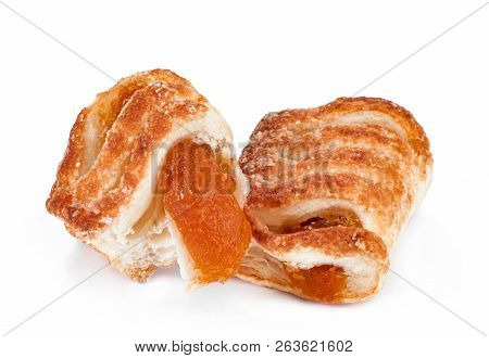 Bakery Sweet Products With Natural Fruit Jam On A White Background Isolated