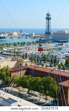 Barcelona, Spain - September 13, 2018: Cable Car (teleferic Del Port - Torre De Jaume I), View From