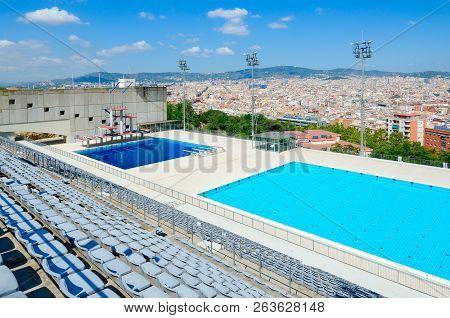 Barcelona, Spain - September 13, 2018: Public Swimming Pool On Mountain Of Montjuïc, Barcelona, Spai