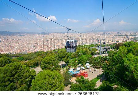 Barcelona, Spain - September 13, 2018: Cable Car (teleferic De Montjuic) On Mountain Of Montjuïc, Ba