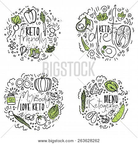 Keto Friendly, Keto Diet, My Body Love Ketogenic, Ketogenic Menu - Two Colored Vector Sketch Illustr