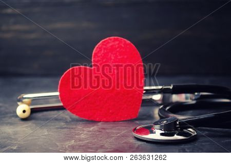 Red Heart And Stethoscope. The Concept Of Medicine And Health Insurance, Family, Life. Ambulance. Ca