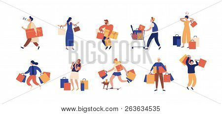 Collection Of People Carrying Shopping Bags With Purchases. Men And Women Taking Part In Seasonal Sa