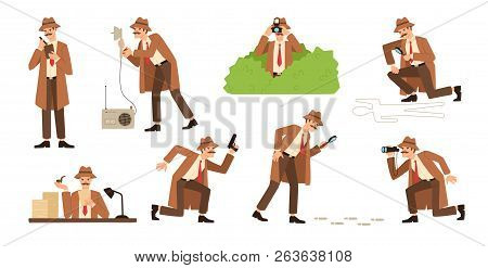 Bundle Of Detective With Mustache Looking Through Magnifying Glass, Sneaking, Spying, Solving Crime,