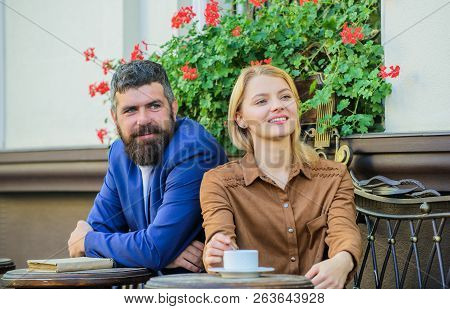 Couple In Love Sit Cafe Terrace Enjoy Coffee. Girl Dating With Businessman. Dating Businessman. Coup