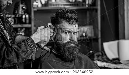 Stylish Haircut Concept. Hands Of Barber With Clipper Close Up. Client With Beard On Salon Backgroun