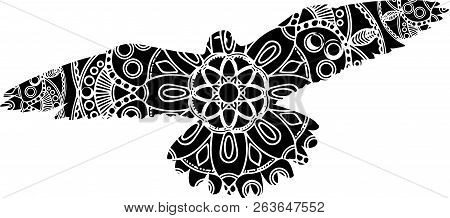Outline Illustration Of An Ornate Flying Bird With Uplifted Wings With An Intricate Geometric Patter