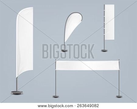 Set Of Four Blank Textile Banners Or Flags In Various Shapes For Brand Promotion