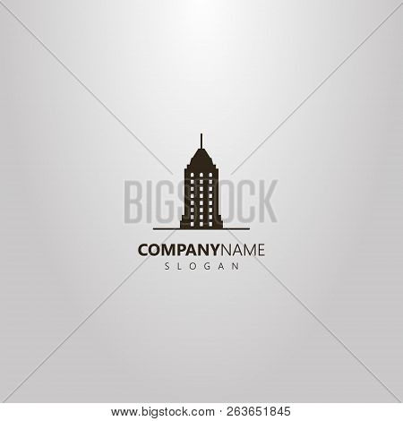 Black And White Simple Vector Flat Art Logo Of Skyscraper With A Spire