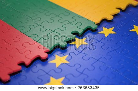 Flag Of The Lithuania And The European Union In The Form Of Puzzle Pieces In Concept Of Politics And