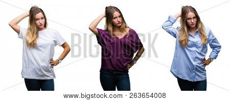 Collage of young beautiful blonde woman over isolated background confuse and wonder about question. Uncertain with doubt, thinking with hand on head. Pensive concept.