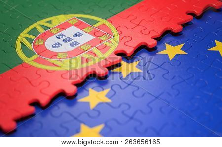 Flag Of The Portugal And The European Union In The Form Of Puzzle Pieces In Concept Of Politics And