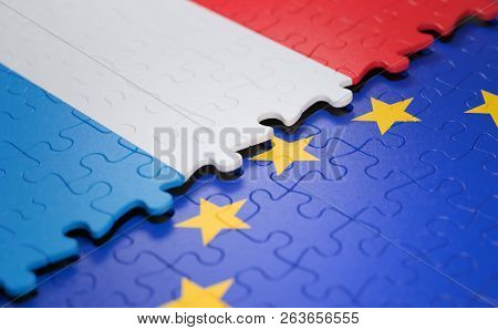 Flag Of The Luxembourg And The European Union In The Form Of Puzzle Pieces In Concept Of Politics An