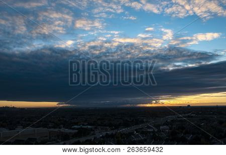 Sunrise Over Greater Toronto Area Seen From Mississauga