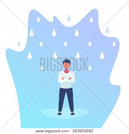 unprotected man standing under rain cloud rainy day problem concept full length flat poster