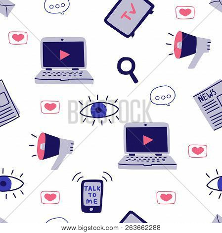Seamless Pattern With Media Symbols. Vector Illustration
