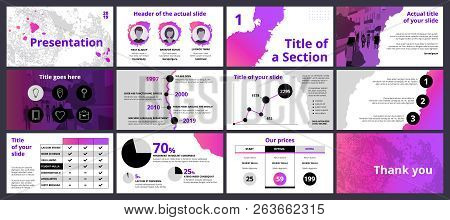 Design Of A Business Presentation Template With Pink And Violet Gradient Paint Splashes And Circle S