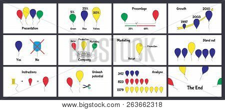 Design Of A Funny Business Presentation Template On White Background. Creative Concept Vector Set Of