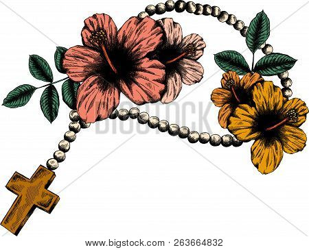 Holy rosary beads  illustration. Prayer Catholic chaplet with a cross poster