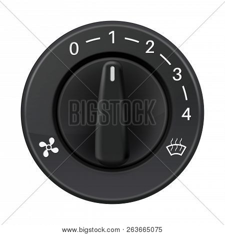 Car Dashboard Knob Switch. Auto Air Conditioner. Air Flow Level Selector. Vector 3d Illustration Iso
