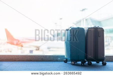 Travel Luggage Suitcase At The Airport Terminal In Waiting Area Departure Flight For Business Transp
